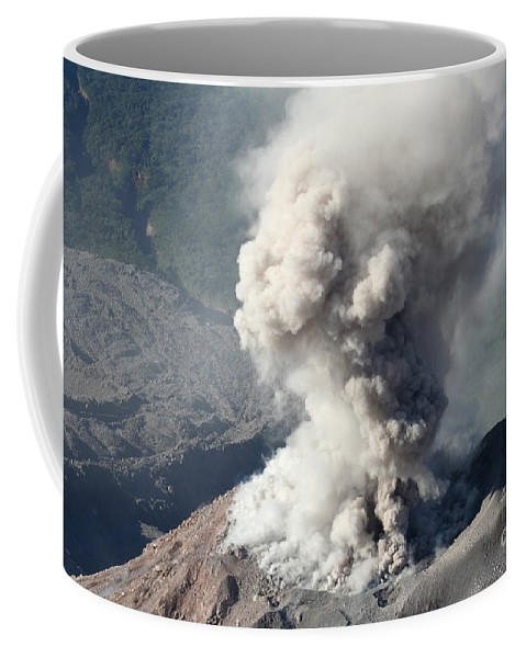 Lava Dome Coffee Mug featuring the photograph Eruption Of Ash Cloud From Santiaguito by Richard Roscoe