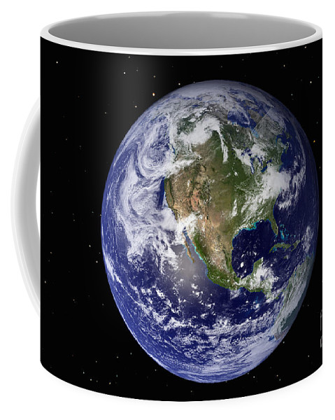 Color Image Coffee Mug featuring the photograph Full Earth Showing North America by Stocktrek Images