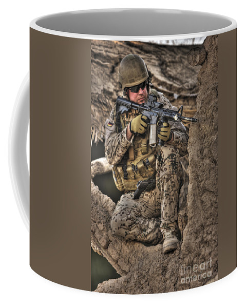 Aiming Coffee Mug featuring the photograph Hdr Image Of A German Army Soldier by Terry Moore