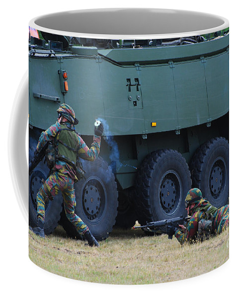 Soldier Coffee Mug featuring the photograph Infantry Soldiers Of The Belgian Army by Luc De Jaeger