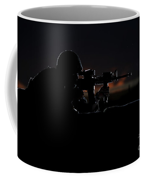 Afghanistan Coffee Mug featuring the photograph Partially Silhouetted U.s. Marine by Terry Moore