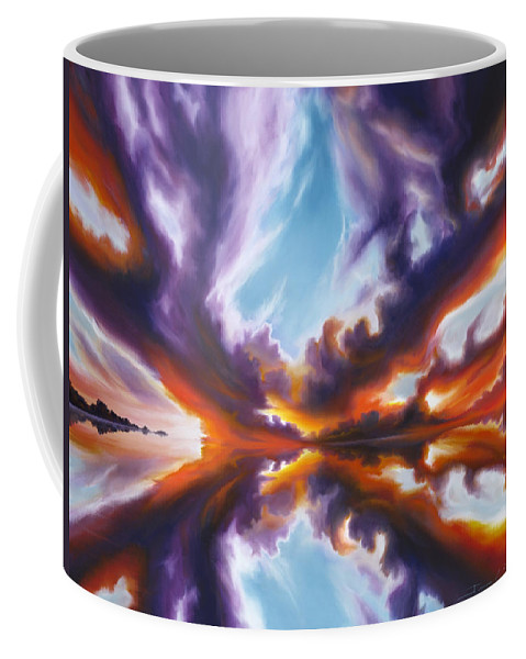 Bright Clouds; Sunsets; Reflections; Ocean; Water; Purple; Orange; Storms; Lightning; Contemporary; Abstract; Realism; James Christopher Hill; James Hill Studios; James C. Hill Coffee Mug featuring the painting Reflections of the Mind by James Christopher Hill