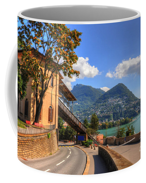 Road Coffee Mug featuring the photograph Road And Mountain by Mats Silvan