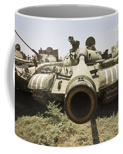 Cannon Coffee Mug featuring the photograph Russian T-54 And T-55 Main Battle Tanks by Terry Moore