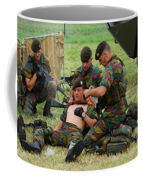 Armed Forces Coffee Mug featuring the photograph Soldiers Of A Belgian Infantry Unit by Luc De Jaeger