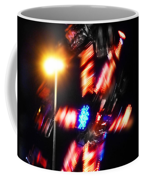 Spinning Fairground Wheel Coffee Mug featuring the digital art Spin by Charles Stuart