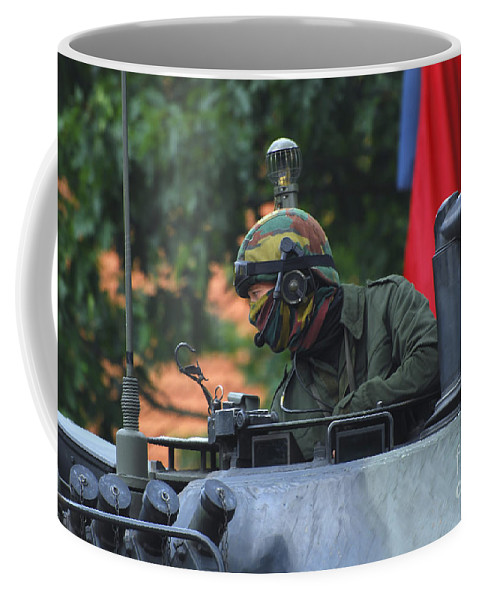 Adults Only Coffee Mug featuring the photograph Tank Commander Of A Leopard 1a5 Mbt by Luc De Jaeger
