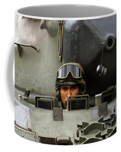Adults Only Coffee Mug featuring the photograph Tank Driver Of A Leopard 1a5 Mbt by Luc De Jaeger