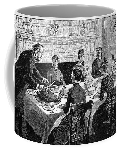 19th Century Coffee Mug featuring the photograph Thanksgiving, 19th Century by Granger