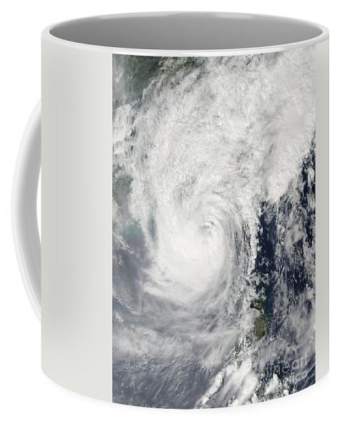 Spiral Coffee Mug featuring the photograph Typhoon Megi by Stocktrek Images