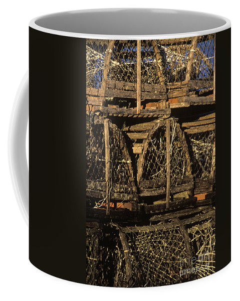 Cape Cod Coffee Mug featuring the photograph Wooden Lobster Traps by John Greim