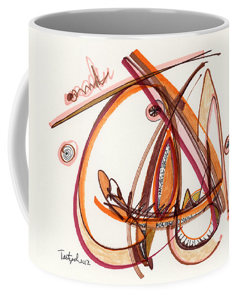 Abstract Coffee Mug featuring the drawing 2012 Drawing #8 by Lynne Taetzsch