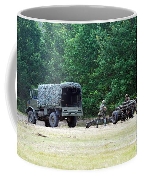 Lg1 Coffee Mug featuring the photograph A Belgian Artillery Unit Setting by Luc De Jaeger