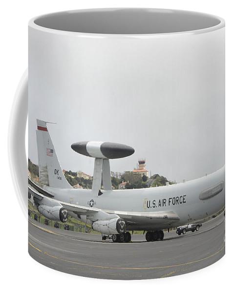 Awacs Coffee Mug featuring the photograph A U.s. Air Force E-3 Sentry Aircraft by Stocktrek Images