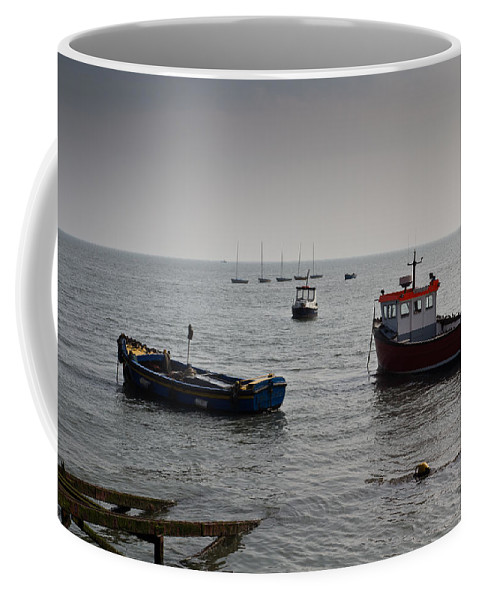Dinghie Coffee Mug featuring the photograph Boats Moored Off Of Leigh Essex by David Pyatt