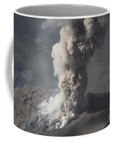 Quetzaltenango Coffee Mug featuring the photograph Eruption Of Ash Cloud From Santiaguito by Richard Roscoe