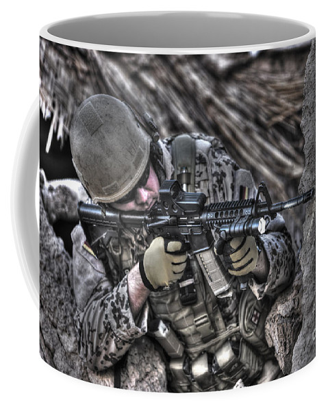 Operation Enduring Freedom Coffee Mug featuring the photograph Hdr Image Of A German Army Soldier by Terry Moore