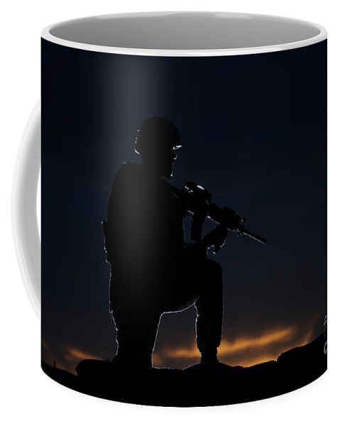 Outdoors Coffee Mug featuring the photograph Partially Silhouetted U.s. Marine by Terry Moore