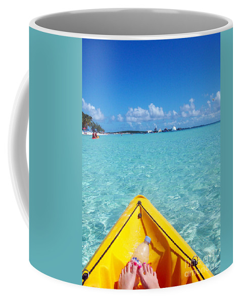 Kayak Coffee Mug featuring the photograph Relaxing At Coco Cay In The Bahamas by Allan Hughes