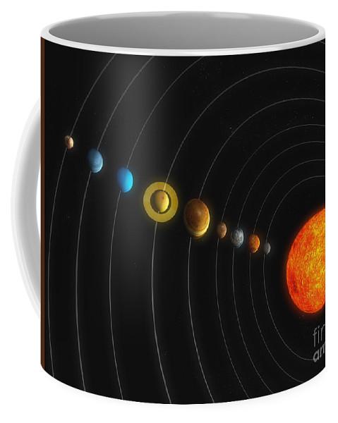 Horizontal Coffee Mug featuring the digital art Solar System by Carbon Lotus