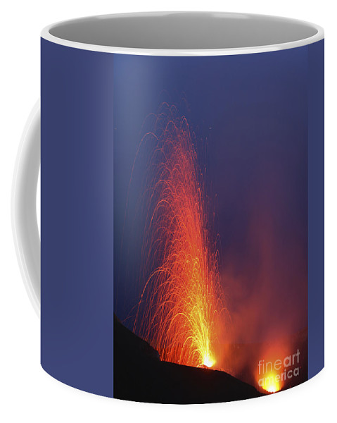 No People Coffee Mug featuring the photograph Stromboli Eruption, Aeolian Islands by Martin Rietze