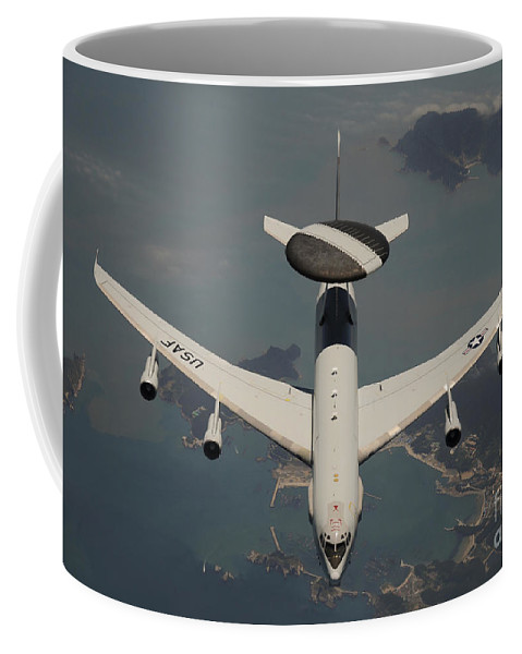 Horizontal Coffee Mug featuring the photograph A U.s. Air Force E-3 Sentry Aircraft by Stocktrek Images