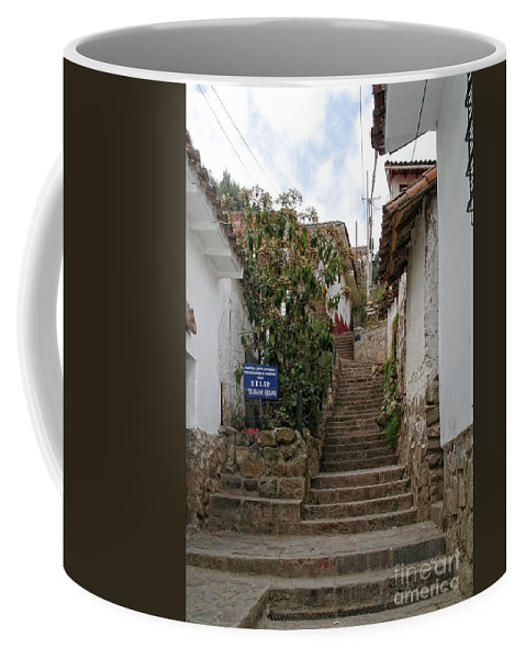Cusco Coffee Mug featuring the digital art Cusco Peru Street Scenes by Carol Ailles
