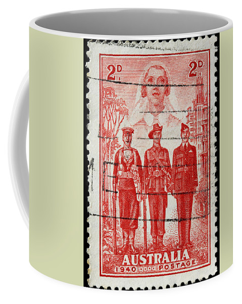 Old Australian Postage Stamp Coffee Mug featuring the photograph old Australian postage stamp by James Hill