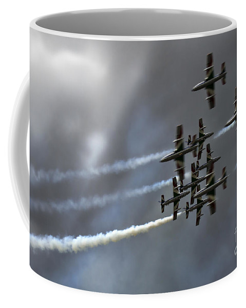 Airshow Coffee Mug featuring the photograph Frecce Tricolori by Angel Ciesniarska