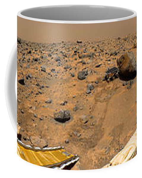 Gallery Pan Coffee Mug featuring the photograph Panoramic View Of Mars by Stocktrek Images