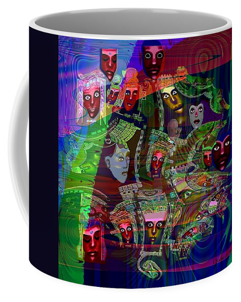 636 Coffee Mug featuring the painting 636 People Masks by Irmgard Schoendorf Welch