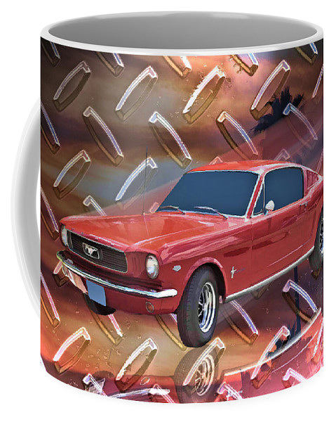 1966 Coffee Mug featuring the digital art 66 Fastback by Tommy Anderson