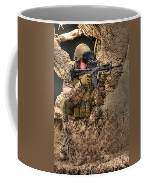 Kneeling Coffee Mug featuring the photograph Hdr Image Of A German Army Soldier by Terry Moore
