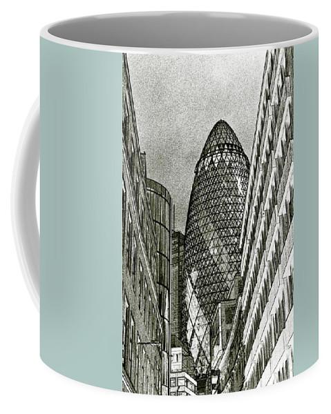 The Gherkin Coffee Mug featuring the digital art The Gherkin London by David Pyatt