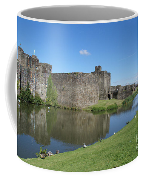 Architecture Coffee Mug featuring the digital art Caerphilly Castle by Carol Ailles