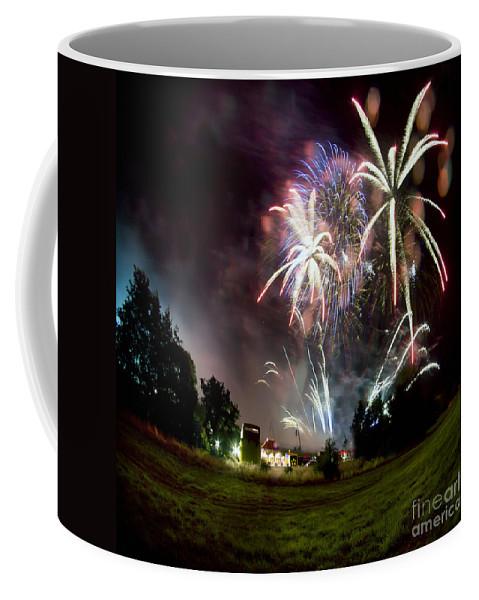 Night Coffee Mug featuring the photograph Fireworks by Angel Ciesniarska