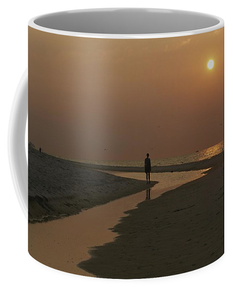 North America Coffee Mug featuring the photograph A Beachcomber On An Alabama Beach by Medford Taylor