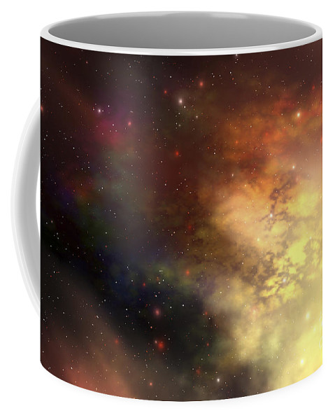 Science Fiction Coffee Mug featuring the digital art A Beautiful Nebula Out In The Cosmos by Corey Ford