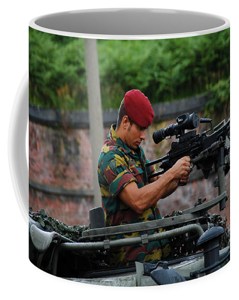 5.56mm Coffee Mug featuring the photograph A Belgian Paratrooper Of The 1st by Luc De Jaeger