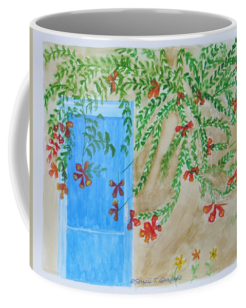 Blue Entrance Coffee Mug featuring the painting A Blue Door by Sonali Gangane