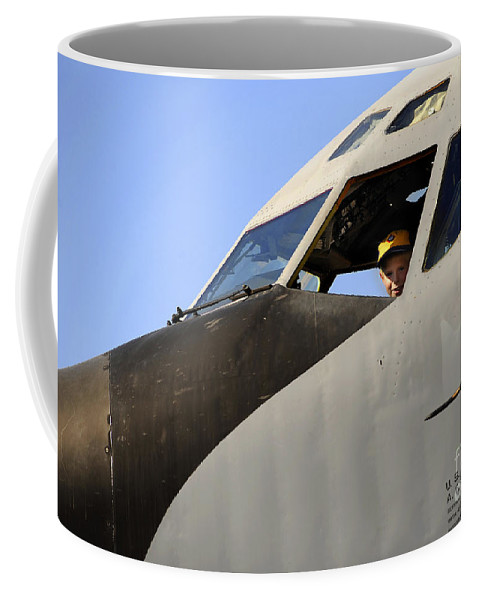 Stratotanker Coffee Mug featuring the photograph A Boy Checks Out The Cockpit by Stocktrek Images