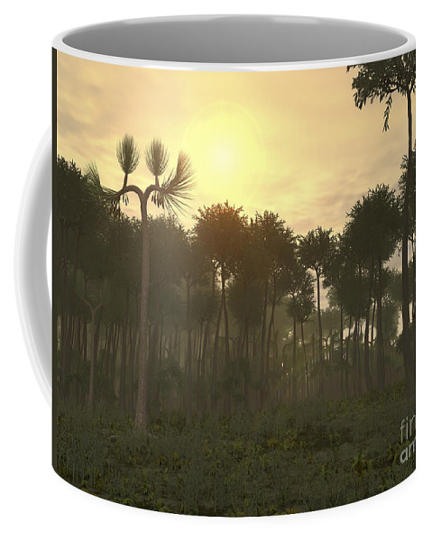Coal Coffee Mug featuring the digital art A Carboniferous Forest Of Midwestern by Walter Myers