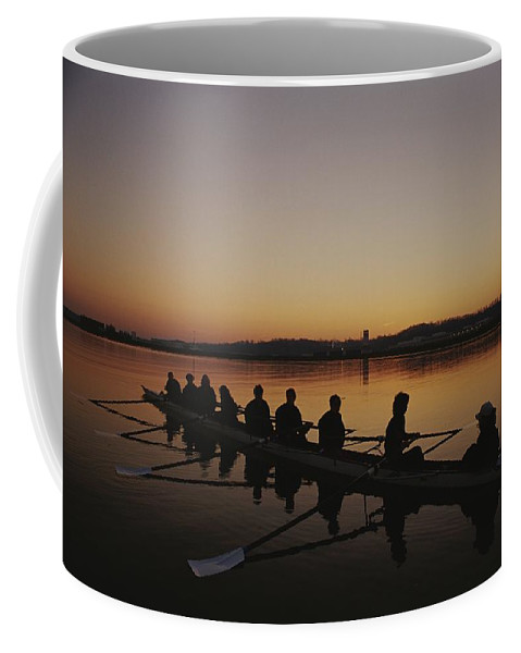 Sports Coffee Mug featuring the photograph A Crew Team Prepares For Practice by Sam Kittner