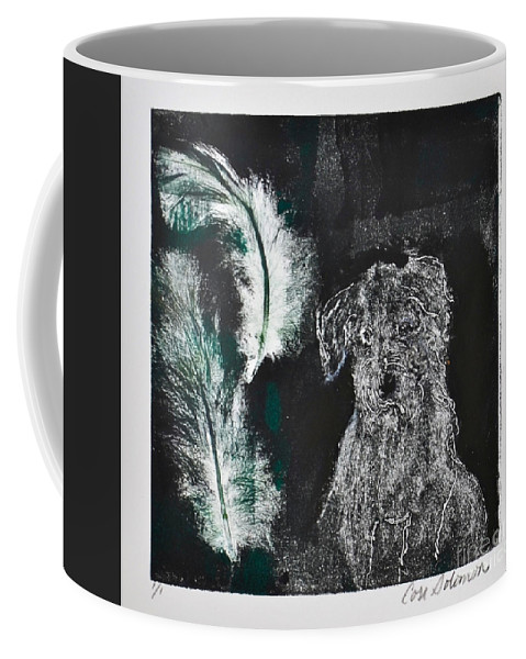 Hand Pulled Print Coffee Mug featuring the mixed media A Feather In My Cap by Cori Solomon