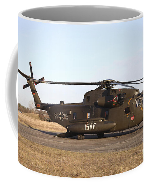 Germany Coffee Mug featuring the photograph A German Ch-53gs Helicopter At Stendal by Timm Ziegenthaler