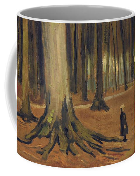 Vincent Van Gogh Coffee Mug featuring the painting A Girl In A Wood by Vincent van Gogh