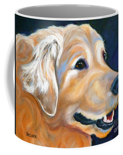 Dog Coffee Mug featuring the painting A Golden Adventure by Susan A Becker