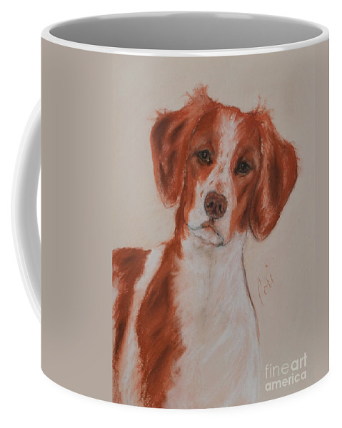Brittany Coffee Mug featuring the drawing A Good Sport by Cori Solomon