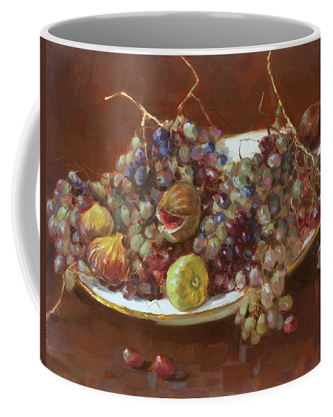 Grapes Coffee Mug featuring the painting A Greek Summer Plate by Ylli Haruni