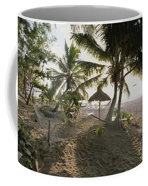 Furnishings Coffee Mug featuring the photograph A Hammock, Umbrella, And Swaying Palms by Rich Reid